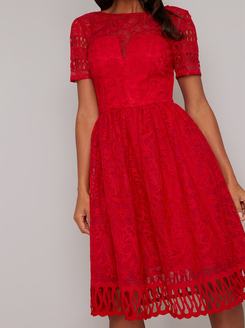 Crochet Lace Short Sleeved Midi Dress in Red
