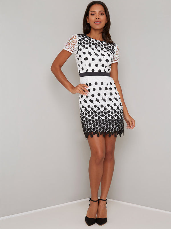 Crochet Overlay Contrast Mini Dress in White