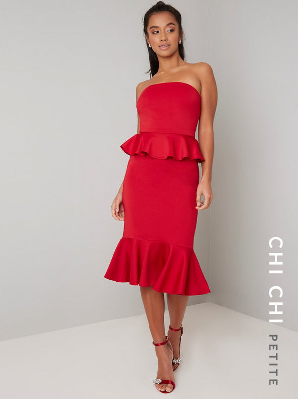 Petite Bardot Bodycon Peplum Midi Dress In Red