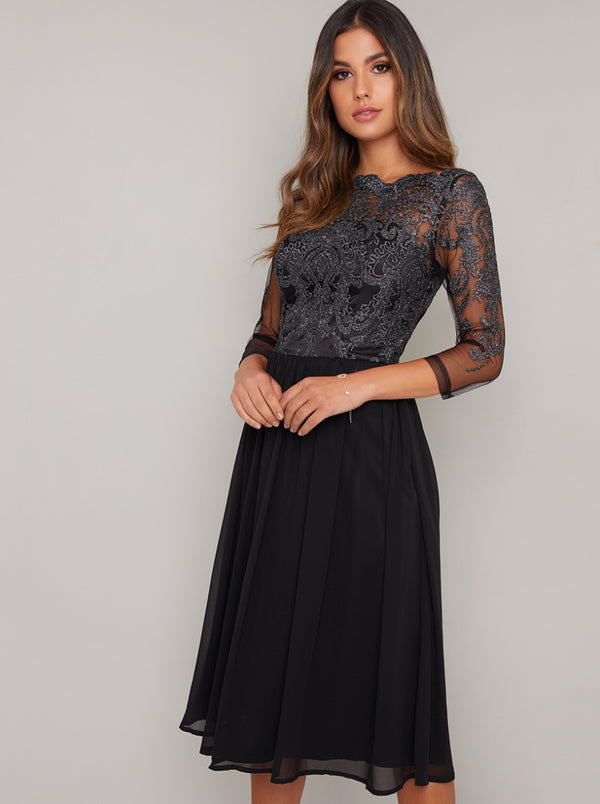 Midi Dress with Baroque Style Lace Design in Black