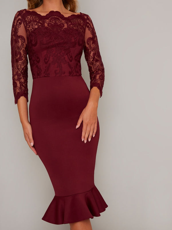 Bodycon Lace Bodice Peplum Hem Midi Dress in Red