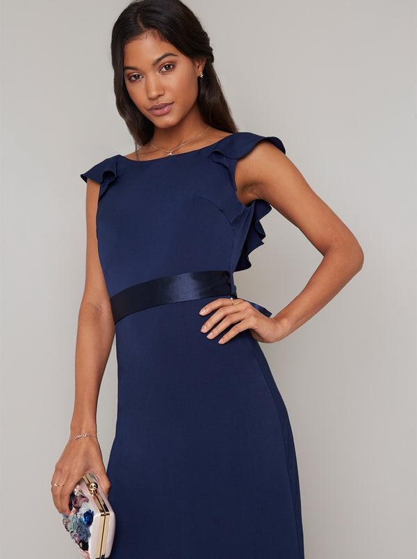 Cap Sleeved Satin Waistband Maxi Dress in Blue