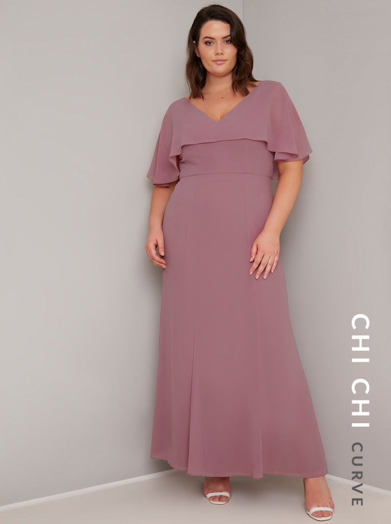 Plus Size Cape Sleeved Chiffon Maxi Dress in Pink