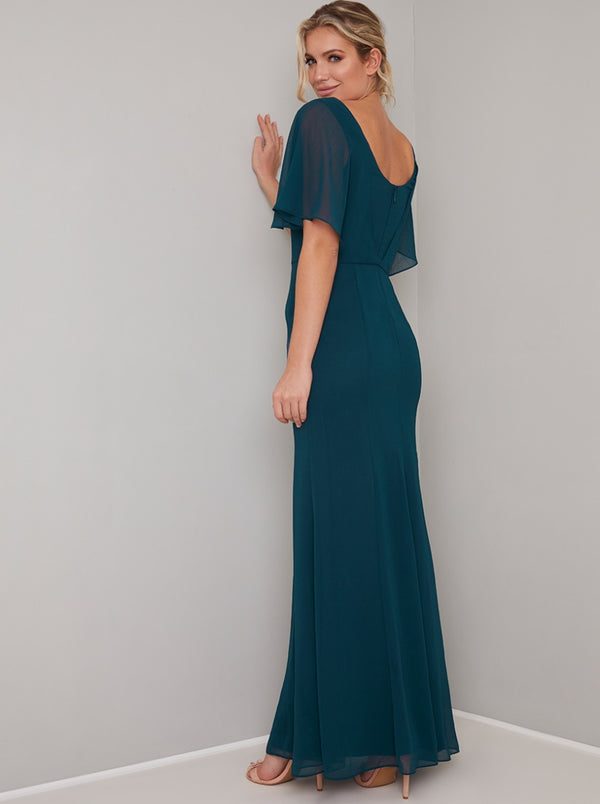 Overlay Bodice Chiffon Maxi Dress in Green