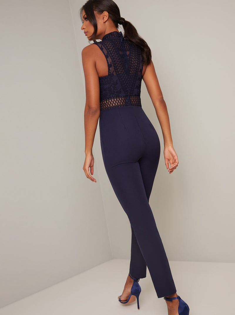 Lace Overlay Slim Fit Jumpsuit in Blue