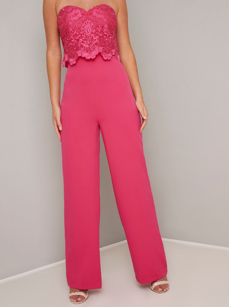 Embroidered Bodice Sleeveless Jumpsuit in Fuschia