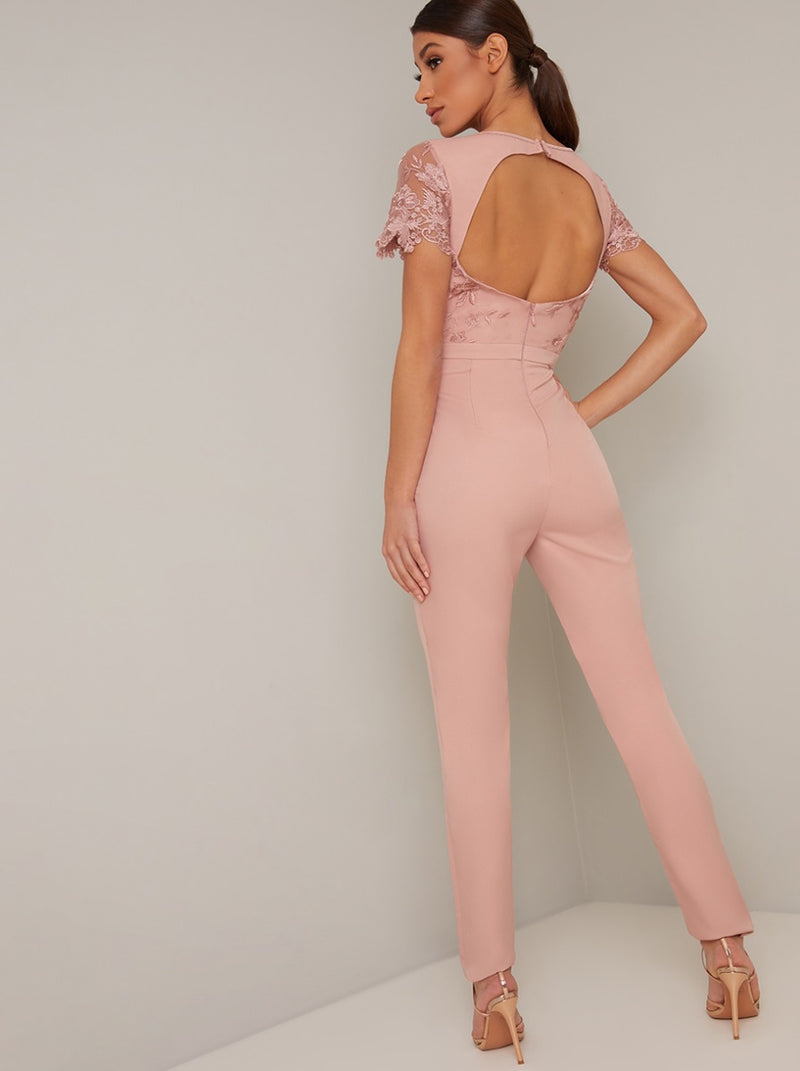 Embroidered Open Back Straight Leg Lumpsuit in Pink