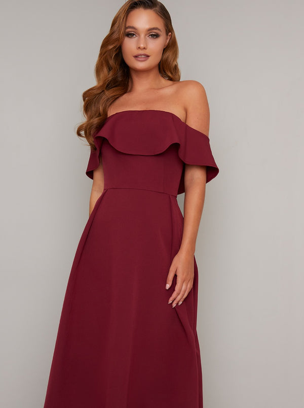 Bardot Dip Hem Midi Dress in Red