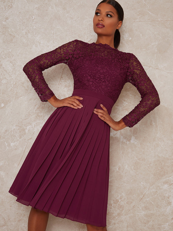 High Neck Lace Long Sleeve Midi Dress in Red