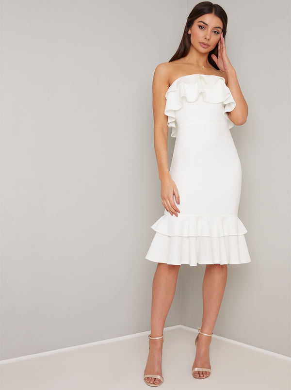 Bandeau Ruffle Detail Bodycon Midi Dress In White