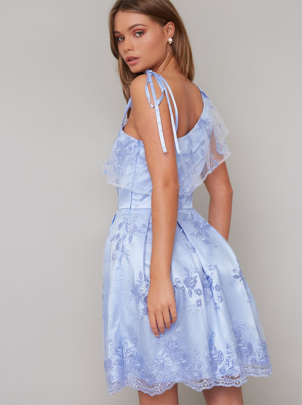 One Shoulder Lace Overlay Dress in Blue