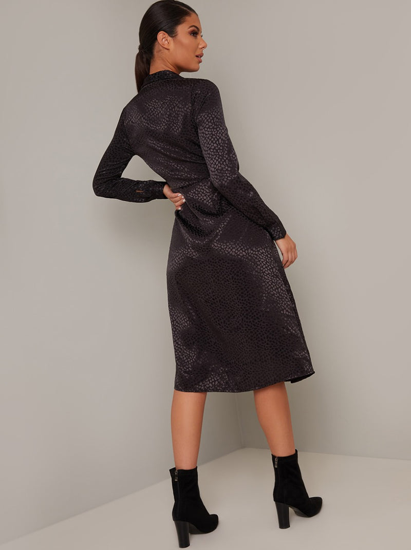 Wrap Style Long Sleeved Midi Dress in Black