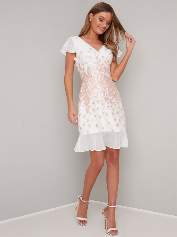 Floral Jaquard Midi Dress with Cap Sleeves in White