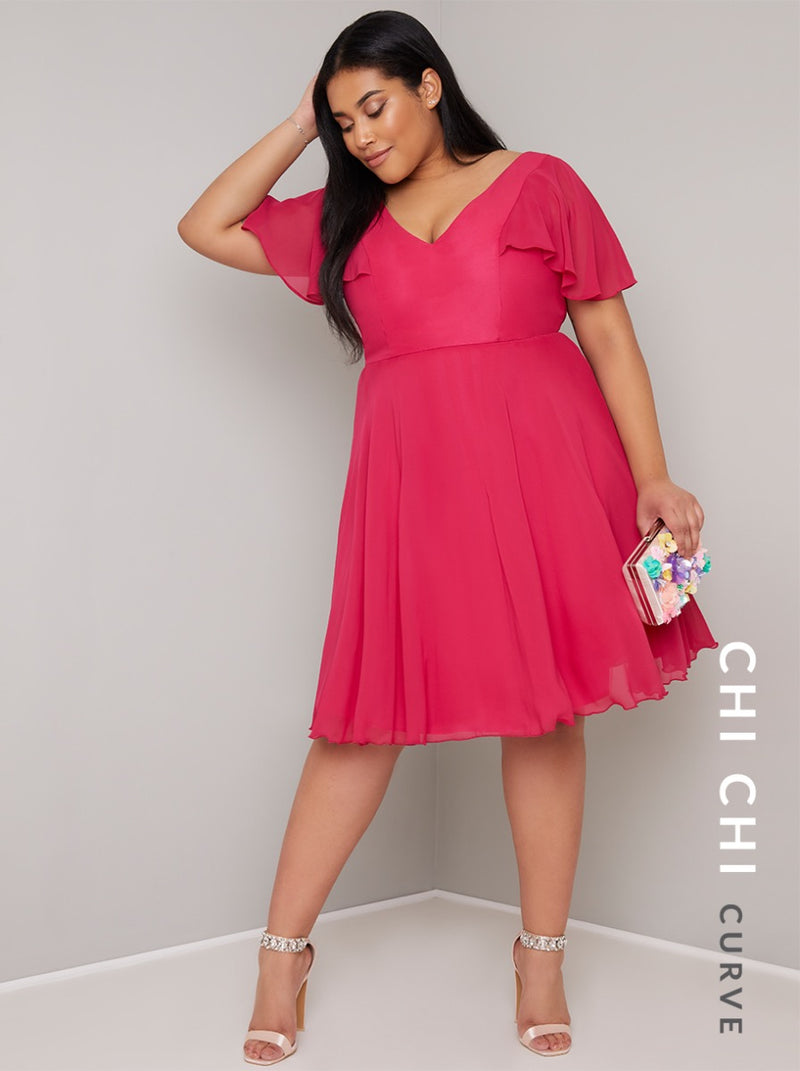 Plus Size Ruffle Detail Chiffon Midi Dress in Pink