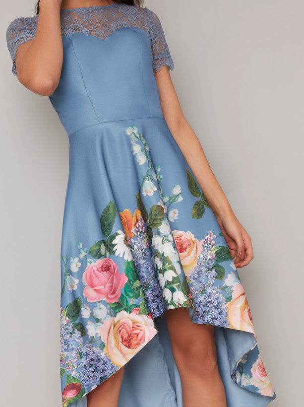 Lace Detail Border Print Dip Hem Dress in Blue