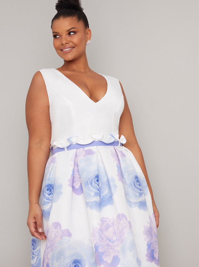 Floral Print Curve Midi Dress in White