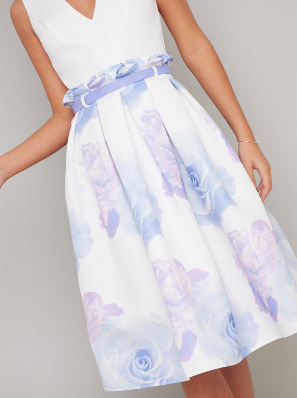 Floral Print Contrast Midi Dress in White