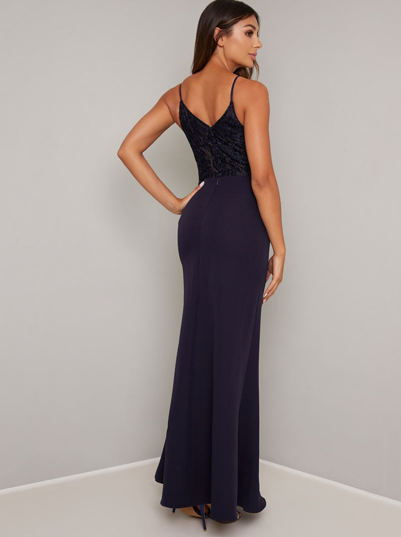 Cami Strap Lace Bodice Maxi Dress in Blue