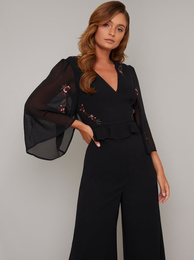 Embroidered Flare Sleeved Crop Jumpsuit in Black