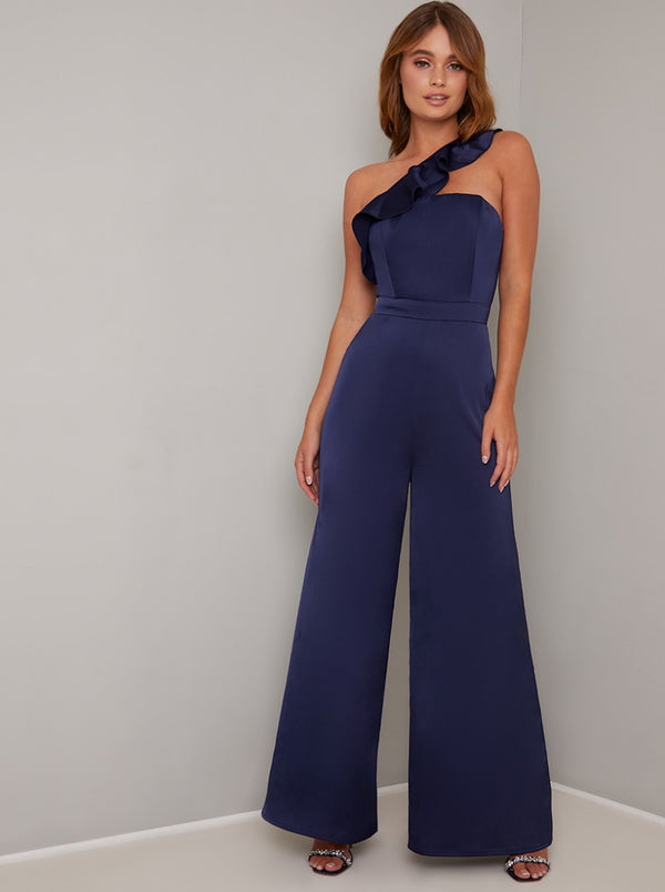 Frill Detail Wide Leg Jumpsuit in Blue