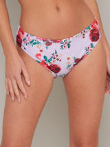 Floral Print Bikini Bottoms in Purple