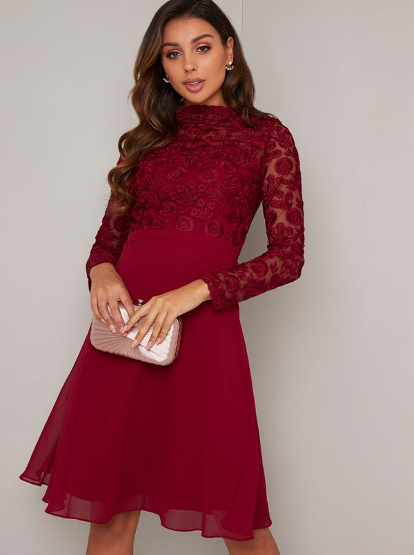 Tall Long Sleeved Lace Midi Dress in Red