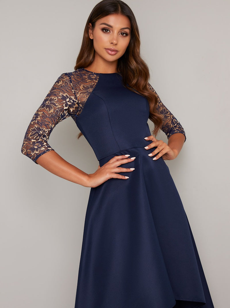3/4 Sleeved Dip Hem Midi Dress in Blue