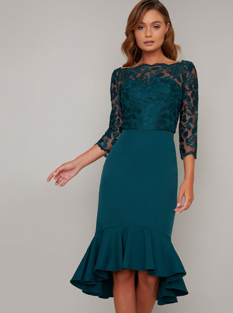 Bodycon Lace Bodice Peplum Hem Midi Dress in Green
