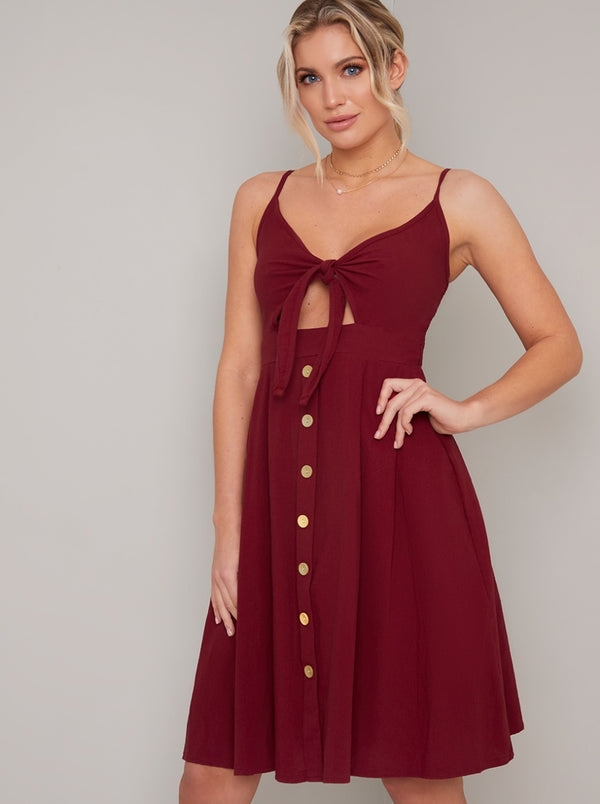 Bodice Midi Day Dress with Button Detailing in Red