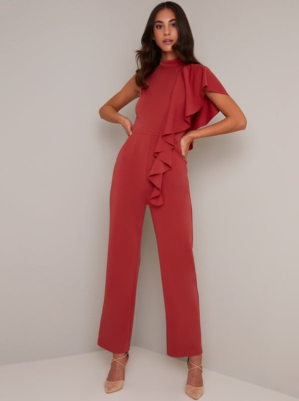 High Neck Frill Detail Straight Leg Jumpsuit in Orange