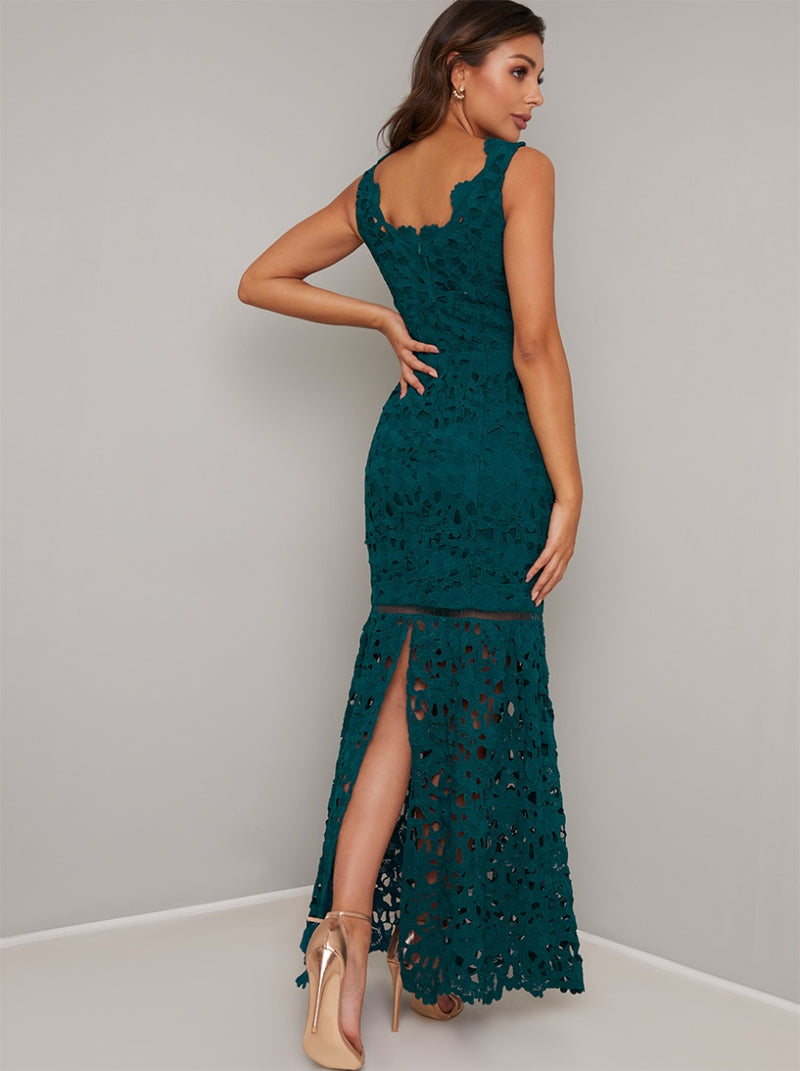 Laser Cut Fishtail Maxi Dress in Green