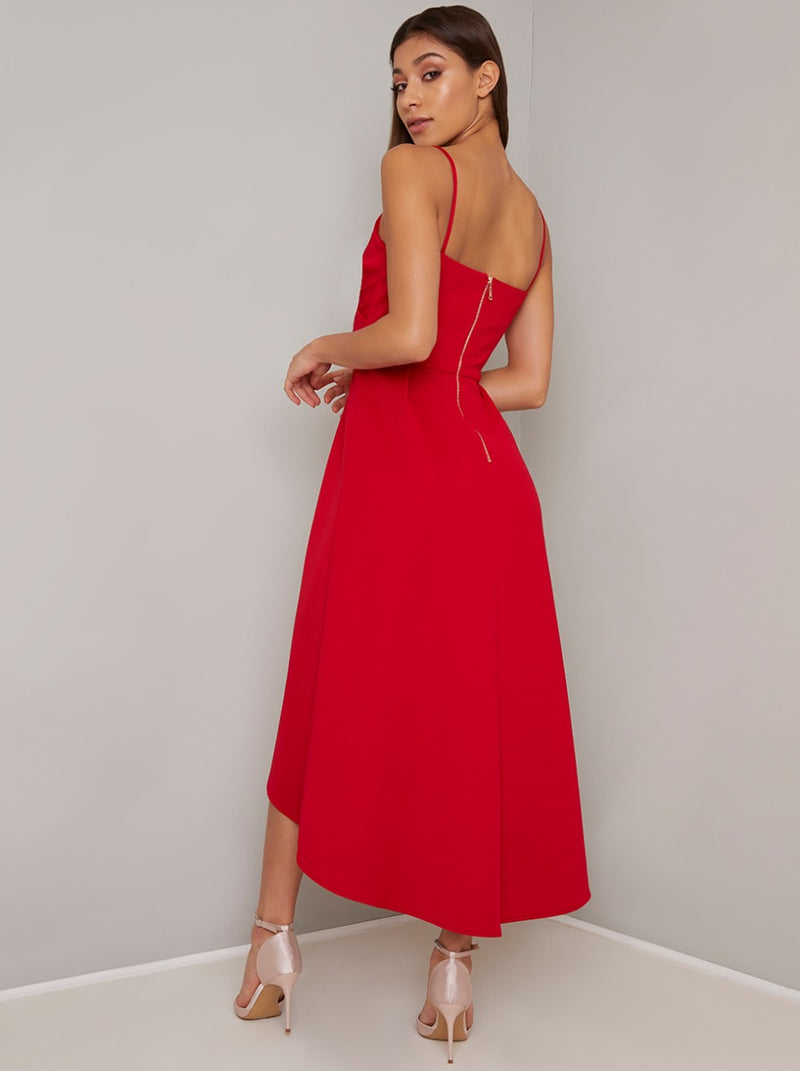 Cami Strap Plain Dip Hem Midi Dress in Red