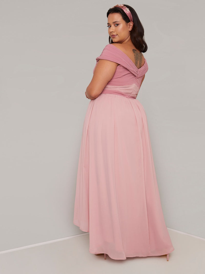 Plus Size Pleat Detail Maxi Dress in Pink