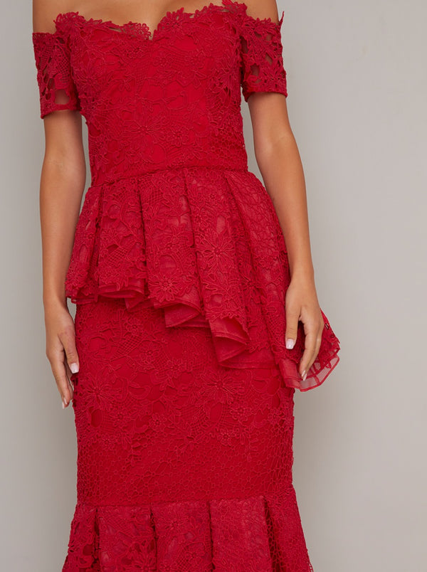 Bardot Lace Bodycon Peplum Dress in Red