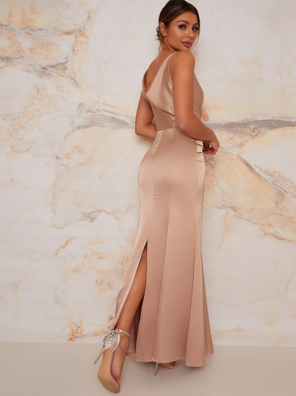 Satin Slip Cami Strap Maxi Dress in Champagne