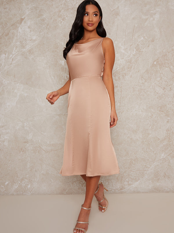 Petite Satin Slip Cami Midi Bridesmaids Dress in Champagne