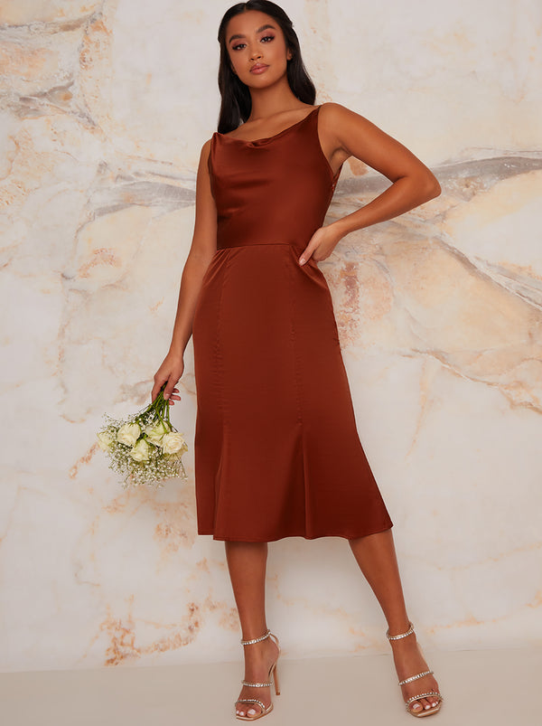 Satin Slip Cami Strap Midi Bridesmaids Dress in Orange