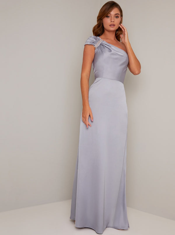 One Shoulder Satin Embellished Maxi Dress in Blue