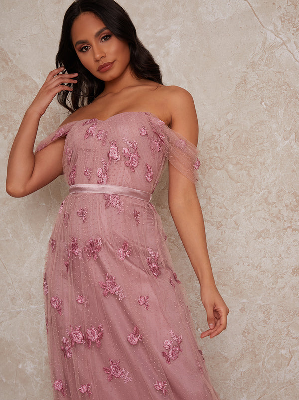 Lace Bardot Maxi Dress in Pink