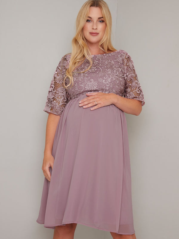 Maternity Lace Bodice 3/4 Sleeve Midi Dress in Pink
