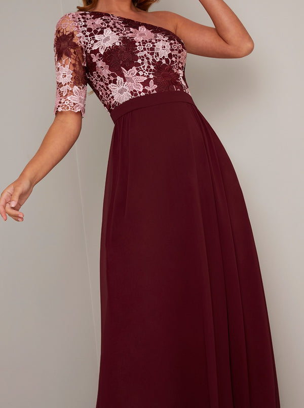 Lace Crochet Bodice Maxi Dress in Red