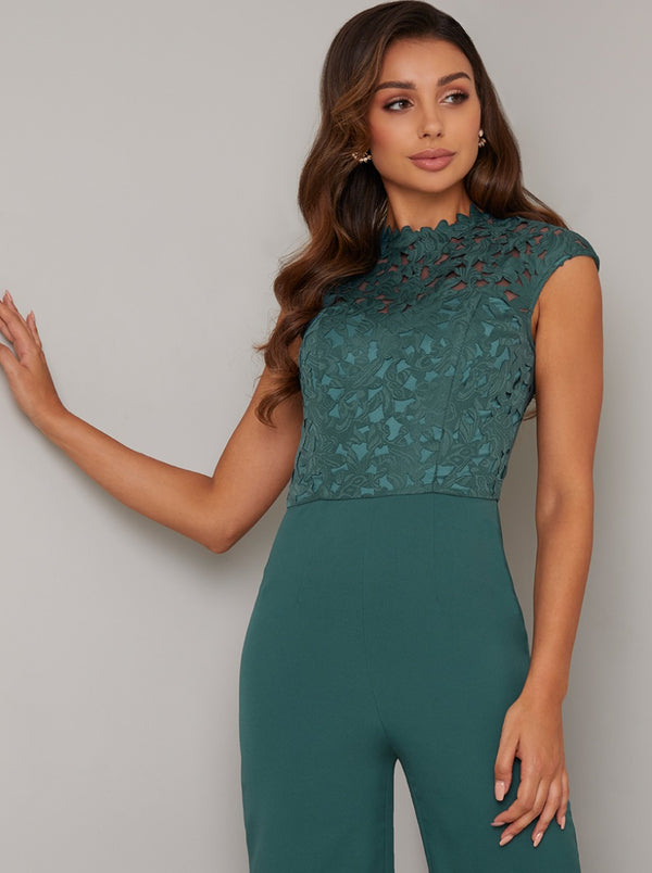Lace Bodice Wide Leg Jumpsuit in Green