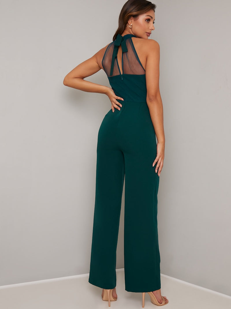 Halter Neck Jumpsuit with Wide Leg Trousers in Green