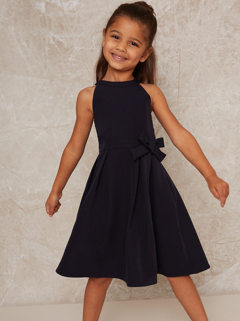 Girls Bow Detail Midi Dress In Navy Blue
