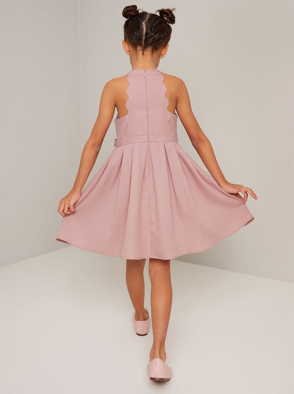 Girls Bow Detail Pleat Midi Dress In Mink
