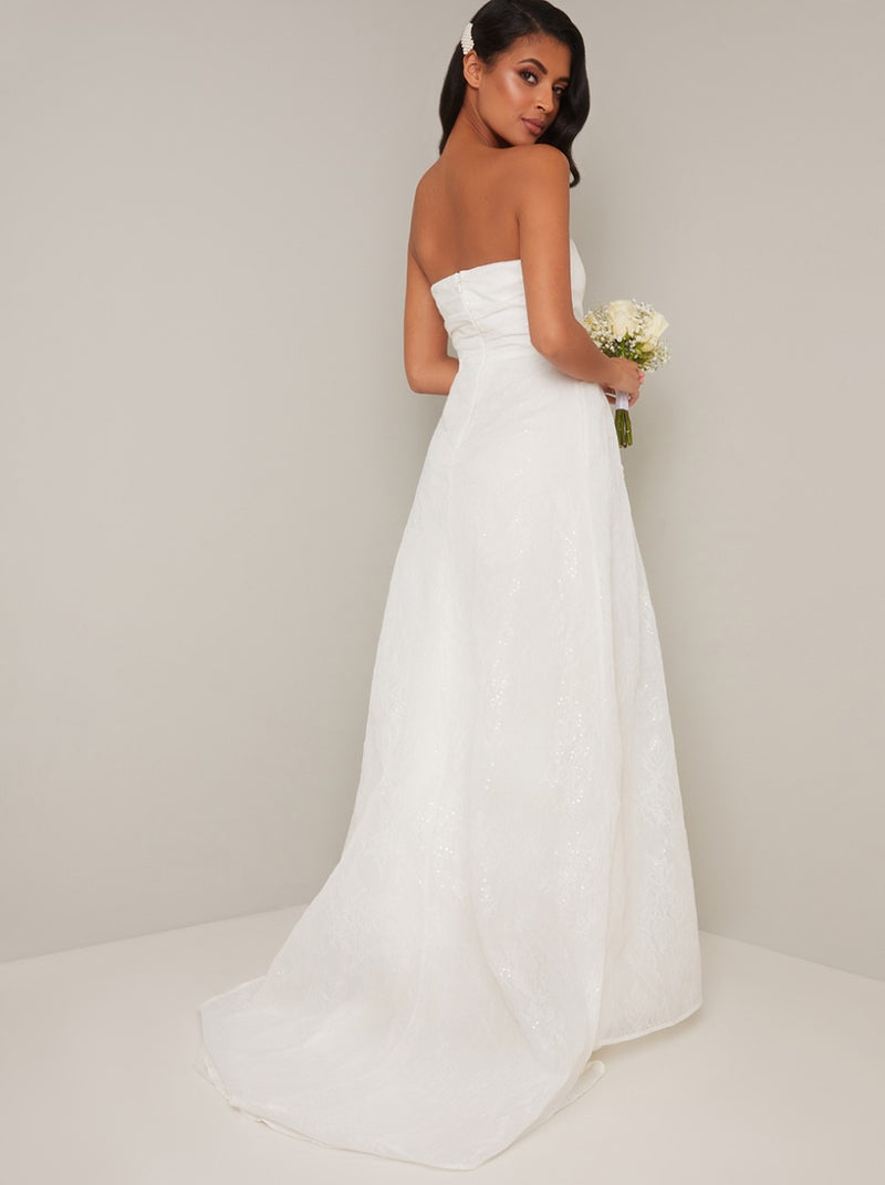 Bridal Strapless Embroidered Wedding Dress in White