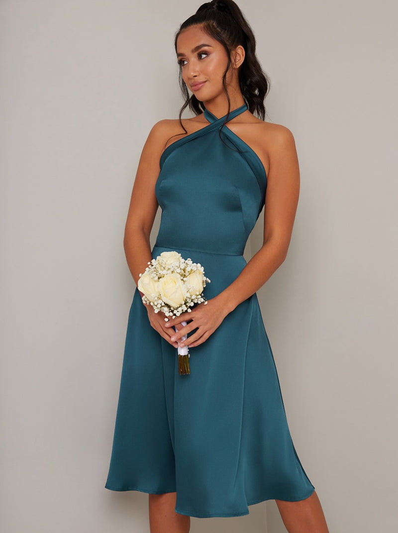 Petite Halterneck Satin Midi Dress in Green