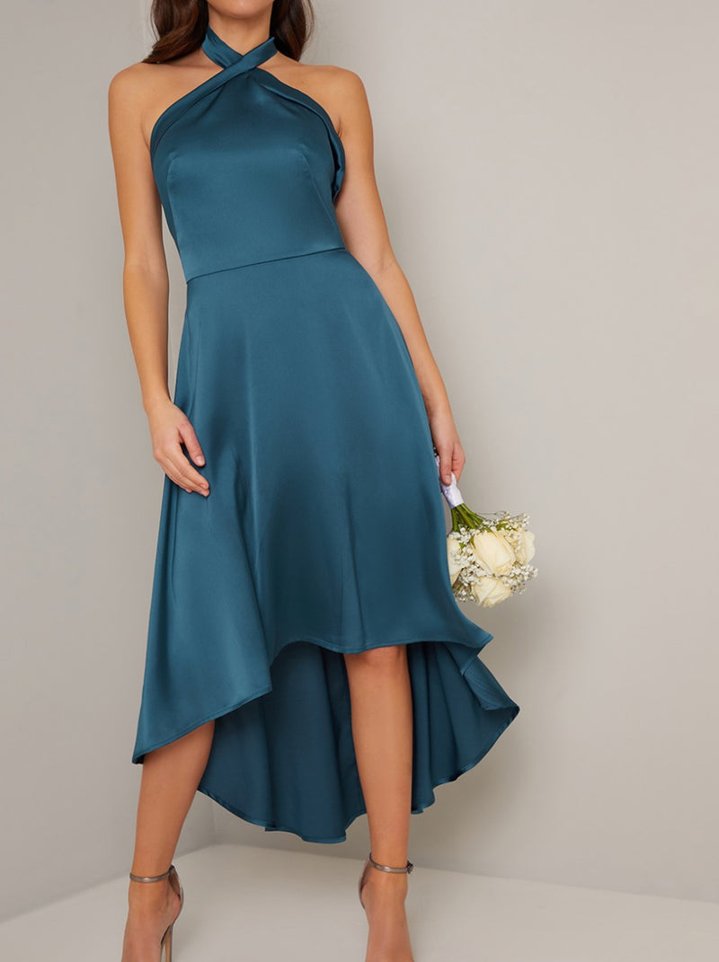 Halter Neck Dip Hem Backless Dress in Green