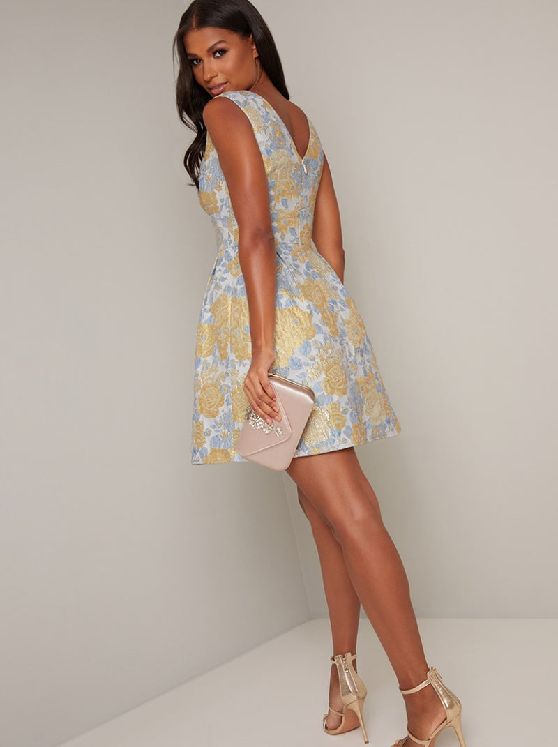 Floral Print Jacquard Mini Dress in Multi