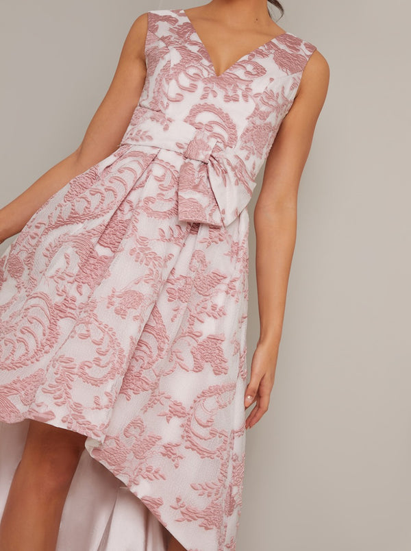 Jaquard Dip Hem Dress withbow Waist Detail in Pink